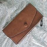 Bainuojia Damen Große Echt-Leder Geldbörse Portemonnaie Portmonee Herren Kredit-Kartenetui XL Geldbeutel Organizer Reisebrieftasche aus Hochwertigem (Coffe)