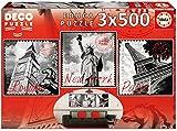 Educa Borrás - 3X500 Grandes Ciudades, Puzzle (17096)