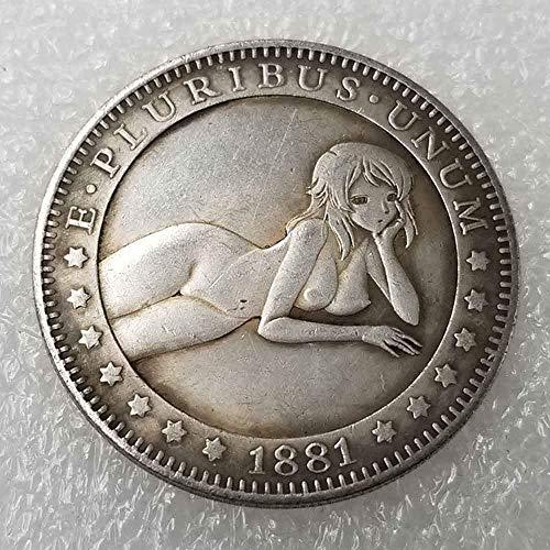 YunBest Best Morgan Silbermünzen - 1881 Old Hobo Nickel-Münze - alte Münze zum Sammeln - Silber-Dollar USA Old Morgan Dollar - überzogene Silberne alte Münze BestShop -