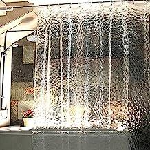 Rightvp Cortina de Ducha (1.8x1.8m) Hecha de Material EVA Diseñado de Estampado Cubo Transparente con 12 Anillos de Cortina