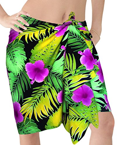 La Leela likre donne pareo spiaggia flora epoca mini pareo 72x21 pollici Viola