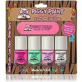 Piggy Paint Non-Toxic Girls Nail Polish - Safe, Chemical Free 4 Pack Mini Set