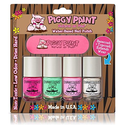 Piggy Farbe ungiftig Mädchen Nail Polish - Sicher, ohne Chemikalien Piggy 4 Stück Mini Set
