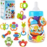 WISHTIME Baby rattles teethers for Newborn Toys,Gifts for Infants 11pcs with Hand Development Rattle Toys and Giant Bottle fo