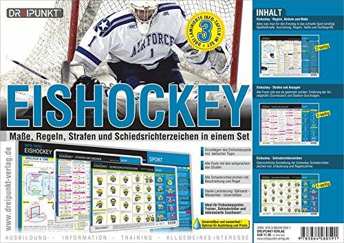 Tafel-Set Eishockey: Regeln, Maße, Spielablauf, Strafen, Ansagen und Schiedsrichterzeichen.