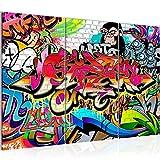 Bilder Graffiti Street Art Wandbild 120 x 80 cm Vlies - Leinwand Bild XXL Format Wandbilder Wohnzimmer Wohnung Deko Kunstdrucke Bunt 3 Teilig - Made IN Germany - Fertig zum Aufhängen 401731a