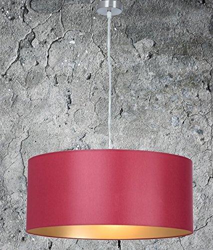 Hochwertige Stoff Hängelampe Rot Gold, Durchmesser 55 cm, Pendelleuchte, Stofflampe, Deckenlampe Rund, LED geeignet, Lampenschirm Für Wohnzimmer, Dimmbar und Höhenverstellbar, 2X E27