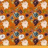 Soimoi Orange Heavy Canvas Stoff Leaves & Peony Floral