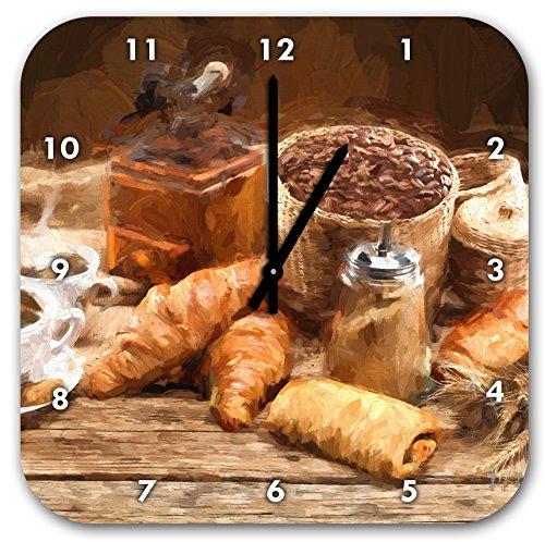 Stil.Zeit Aromatischer Kaffee mit Croissant Pinsel Effekt, Wanduhr Quadratisch Durchmesser 28cm mit schwarzen Spitzen Zeigern und Ziffernblatt -