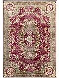 Benuta Teppich mit Print Siljan Beige/Pink 130x190 cm - Vintage Teppich im Used-Look