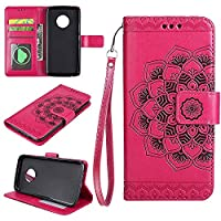 MOTO G5 PLUS Wallet Case, EST-EU Retro Mandala Embossing PU Leather Stand Function Protective Covers with Card Slot Holder Wallet Book Case for MOTOROLA MOTO G5 PLUS, Rosepink
