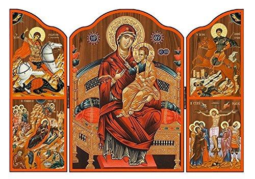 St Joseph's Catholic Giftshop - Tríptico de madera con icono griego en Amazon Icono de madera para mujer y niño. Icono religioso hecho a mano en Grecia