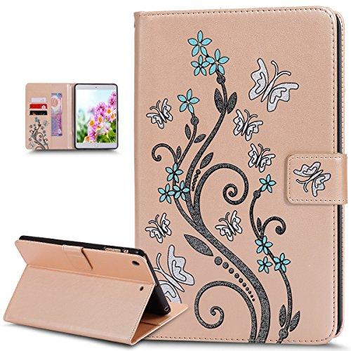 Kompatibel mit iPad mini Hülle,iPad mini Schutzhülle,Bunte Gemalt Prägung Schmetterlings Blumen PU Lederhülle Flip Hülle Cover Ständer Etui Wallet Tasche Case Schutzhülle für iPad mini 1/2/3,Gold