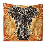 QEES Elefant Geheimnisvoll Stil Wandteppich Wandtuch Wandbehang auch als Tischdecke Strandtuch Schöne Wanddeko leicht HYGT02-Mystic 6-S