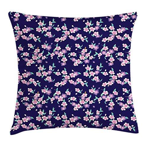 Cherry-gewebe-sofa (Dekokissen KissenbezugJapaner Cherry Blossoms Sakura Branches Spring Theme auf einem dunkelblauen Hintergrund Pillow Cushion Cover Pillowcase,45x45 cm)