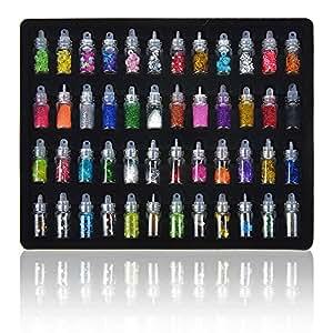 Lifestyle-You™ 48 Pcs Glass Bottles 3D Nail Art Set. Glitter Sequins Rhinestones Beads Assorted Colours