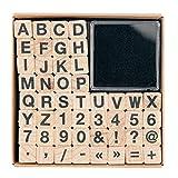 Rico Design Stempel-Set ABC & Zahlen, 48 Stück, ca. 1 x 1 cm, inkl. Stempelkissen