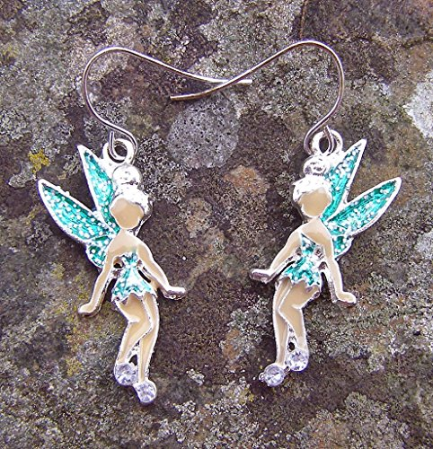 Fairy Ohrringe mit Grün Sparkle Flügel, 3cm Drop (Kostüm Tinkerbell Punk)