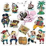 Decowall DS-8010 L'Île au Trésor et Les Pirates Autocollants Muraux Mural Stickers Chambre Enfants Bébé Garderie Salon (Petit)...