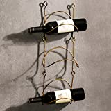 YANGMAN Weinflaschenregal, aus Schmiedeeisen, zur Wandmontage, rustikal, Heimdekoration, Gebogene Oberfläche (enthält Keine Weinflaschen), 3 Racks