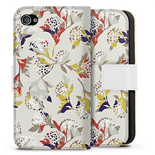 Apple iPhone X Silikon Hülle Case Schutzhülle Blumen Muster Ornament Sideflip Tasche weiß