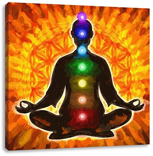 Meditation mit den 7 Chakren Kunst Pinsel Effekt, Format: 60x60 auf Leinwand, XXL riesige Bilder fertig gerahmt mit Keilrahmen, Kunstdruck auf Wandbild mit Rahmen, günstiger als Gemälde oder Ölbild, kein Poster oder Plakat