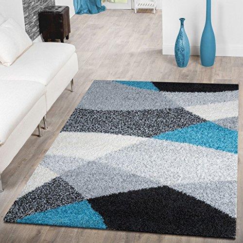 Tappeto shaggy a pelo lungo, moderno tappeto con motivo geometrico, diversicolori, polipropilene, turchese, 140 x 200 cm
