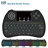 Meerveil H9 2.4GHz Colorful RGB Backlit Mini Wireless Keyboard with Mouse Touchpad Rechargeable Combos for Android TV Box, Kodi,HTPC, IPTV, PC, PS3 ,Xbox 360, Raspberry Pi 3,NVIDIA SHIELD TV