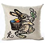 vintage cap Happy Easter Ink Smile Bunny Color Egg Chinese Style Cotton Linen Square Decorative Throw Pillow Case Cushion Cover 18inchs (45)