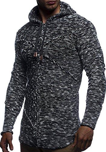 LEIF NELSON Herren Pullover Kapuzenpullover Hoodie Strickpullover mit Kapuze Sweatjpullover Zipper Sweatshirt LN20725 Schwarz
