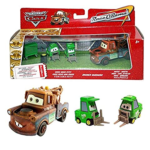 Disney Cars Cast 1:55 - Gift Pack Race o Rama - Mater, Bruiser Bukowski, Chick Hicks Pitty - 3 véhicules