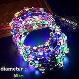 Uchic 7pcs/lot LED clignotante Diadème Bandeau Boho Fleurs Bandeau Hawaii Lei Headwear lumineux Tête couronnes pour filles Femme fête Décor