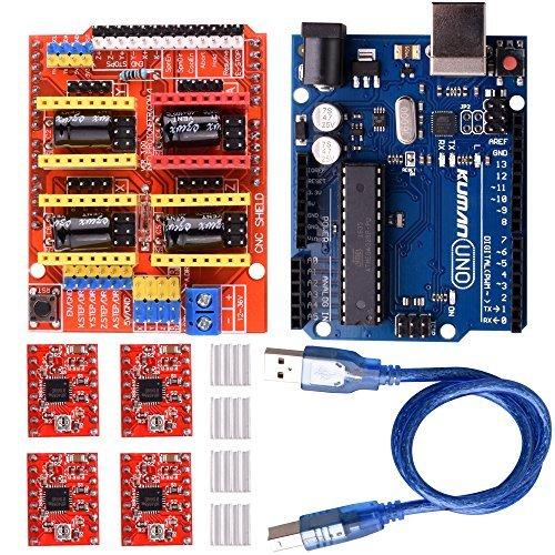 Kuman K75 Scheda di espansione incisore, con scheda UNO R3 e 4 driver motori A4988, con dissipatore di calore per stampante 3D Arduino