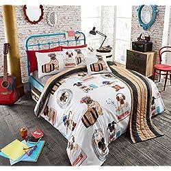 Juego de cama de lujo de 5piezas, en una bolsa, funda nórdica, funda para cojín, camino de cama y fundas de almohada, Pug Fashion, matrimonio