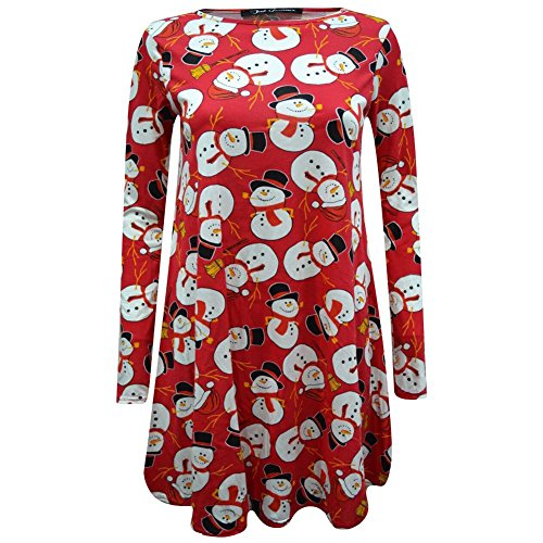 Janisramone - Robe - Robe de swing - Manches Longues - Femme * taille unique RED Snowman with Hat and Scarf Xmas Swing Dress