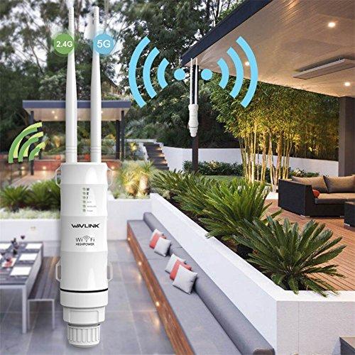 Lifesongs Wavlink High Power exterior resistente al agua CPE/Wifi Extender/Repetidor/Punto de acceso/Router/WISP 2.4GHz 150Mbps + 5GHz 433Mbps Dual-Polarized 1000mW 28dBm Antena omnidireccional