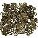 200 Gramm sortierte Vintage Bronze Metall Steampunk Schmuck machen Charms Cog Watch Wheel (Bronze)