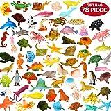 Zoo World Ozean Meerestiere, 78-teiliges Mini Meereslebewesen Spielzeug Set, ValeforToy Plastik Unterwasser Meerestiere Lernspielzeug für Jungen Mädchen Kinder Kleinkinder Party Tasche Stuffers