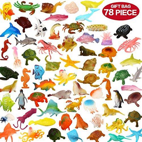 Zoo World Animali Giocattolo, Set di 78 Animali dell'Oceano, Mini Creature Marine in Plastica Perfetti per Bambini e Bambine, come Regalo, Utili a scopo didattico, per Feste.