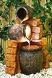 Gartenbrunnen Zimmerbrunnen mit Ölfässern und Beleuchtung 79cm