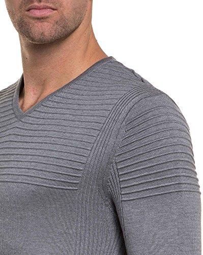 BLZ jeans - Pull homme moulant gris nervuré col V Gris