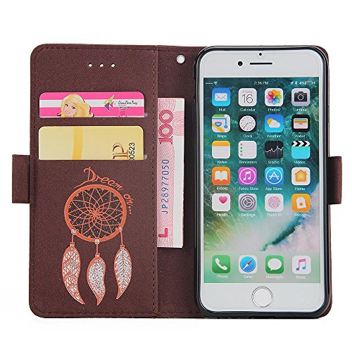 Etui iPhone 6,Coque iPhone 6S, MSK® [Campanula Glitter bling] Housse Etui Coque Pour iPhone 6/iPhone 6S Case Folio Portefeuille avec Fermeture Aimanté Protection Cover - Pourpre Brown