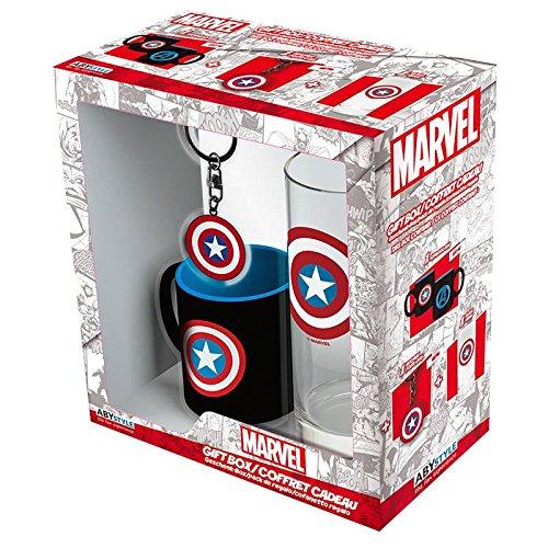 Close Up Geschenkbox/Geschenkset Captain America Schild Logo - 3-teilig (Glas, Tasse, Schlüsselanhänger)