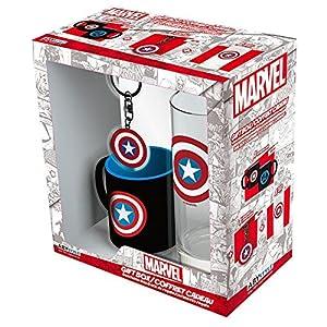 ABYstyle - MARVEL - Caja de regalo - Vaso 29cl + llavero + Mini taza - Captain America
