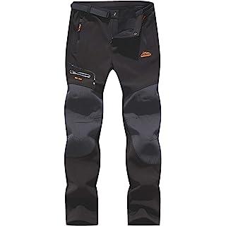 DENGBOSN Pantaloni Trekking Uomo Invernali Impermeabile Caldo Pantaloni Softshell Outdoor Pantaloni da Arrampicata Escursionismo