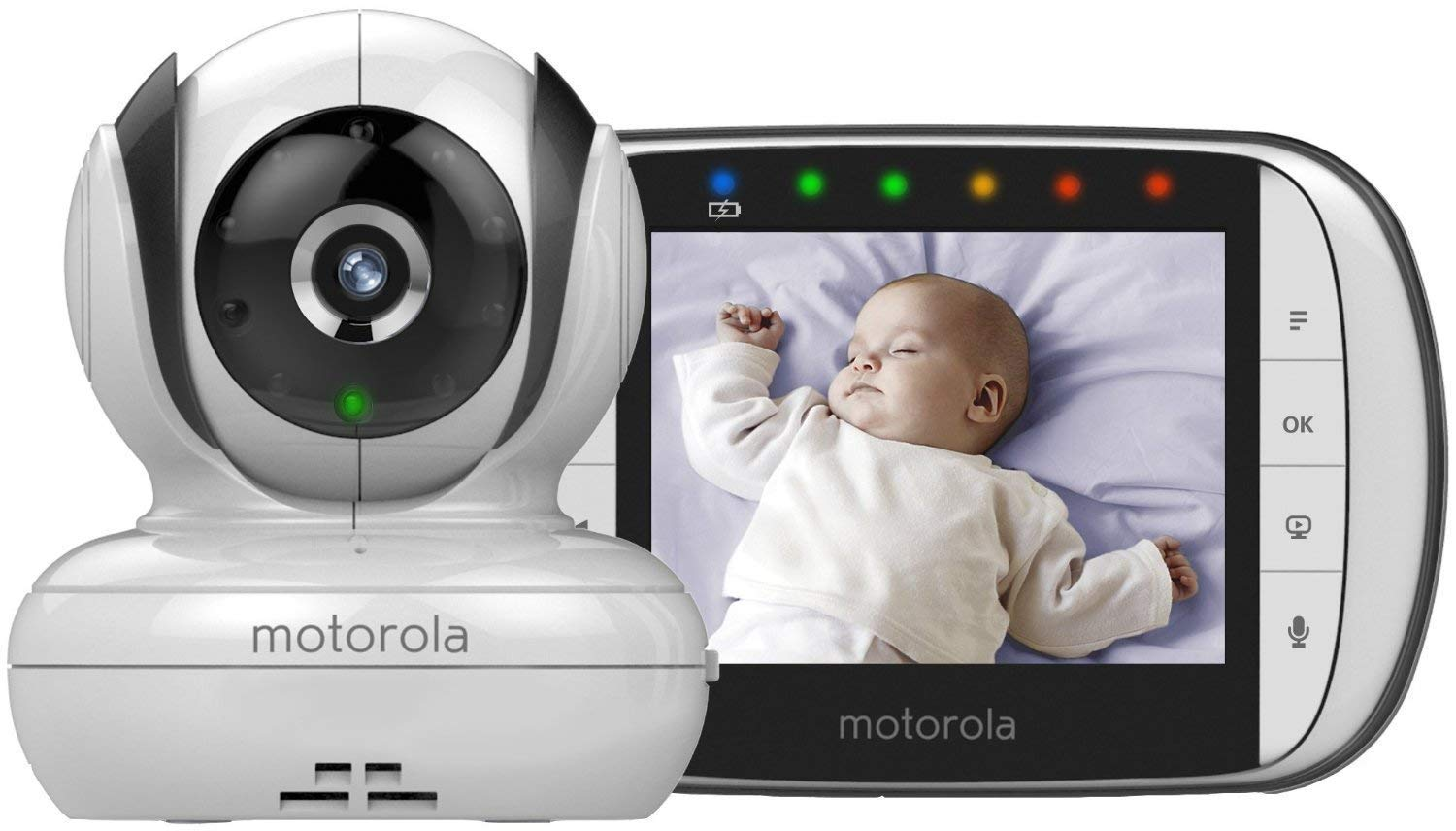Motorola MBP36S Video Baby Monitor (NEW 2018 version) Motorola Features 3.5 inches colour tft led display with 320 x 240 resolution Motorised pan, tilt and digital zoom comes with up to 270 degrees viewing angle when rotating the camera unit left to right (and vice versa) Improved infrared night vision and battery life optimisation 1
