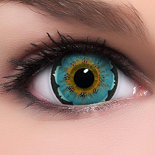Linsenfinder Lenzera Circle Lenses blaue 'Lily Blue' ohne Stärke + Kombilösung + Behälter Big Eyes 15mm farbige Kontaktlinsen