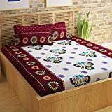 Story@Home 152 TC 100% Cotton Classic Elegant Floral Pattern 1 Pc Double Bedsheet with 2 Pillow Covers Maroon