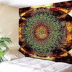 mmzki Naranja Deslumbrante Sunshine Elephant Tapestry Colgante de Pared Tribal Indio Decoración para el hogar Gran Hippie Manta de Pared Arte Alfombra de Playa Tapete de Tiro- 230X150 CM