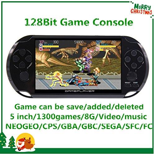 CZT Pantalla de 5 Pulgadas 8GB Videoconsola Retro de 128 bits Consola integrada 1300 Juegos para Arcade NEOGEO/CPS/FC/NES/SFC/SNES/GB/GBC/GBA/SMC/SMD/Sega Consola Portátil de Juegos MP3/4 (Black)
